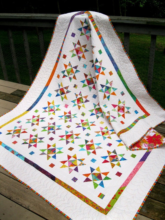 Oh My Stars 67x86 brightly colored star quilt