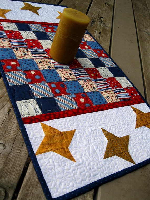 DISCOUNTED Patriotic Checkerboard 17x31 quilted red white blue table runner with stars