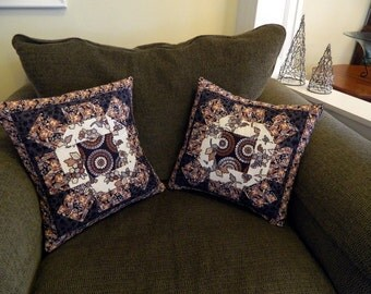 Pair of Deep Navy and Cream Handcrafted Quilted Pillow Covers