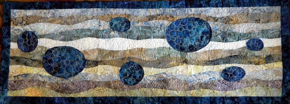 River Rock Curved Pieced Batik Quilt/Free Motion Quilting