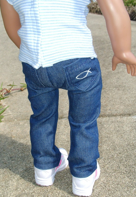 Jeans that fit and show her faith --for dolls like American Girl
