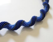 Royal Blue Necklace, curly spiral jewelry, beadwoven, bead crochet, indespiral, seed bead