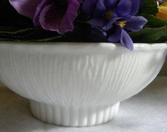 Milk Glass Bowl FTD white Vase 1975 textured creamy unique dish