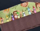Monkey Crayon Roll Party Favors - Crayon Keeper - Crayon Holder