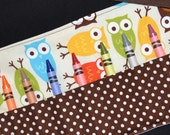 Owl Birthday Party Favors - Owl Crayon Roll STOCKING STUFFER - Toddler Christmas Gift Idea - Crayon Storage, Urban Zoologie