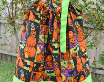 Halloween Dress - Halloween Pillowcase Dress - pumpkins dress - toddler Halloween outfit - baby Halloween dress - orange and green