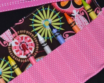 Carnival Bloom Crayon Roll Girls Birthday Party Favors - STOCKING STUFFER - Christmas Gift - Crayon Holder - Crayon Keeper - Crayon Storage