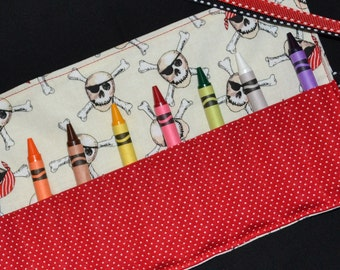 Pirates Birthday Party Favors Crayon Roll - Crayon Keeper - Crayon Holder