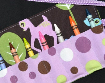 Crayon Roll Holder Keeper - Girls Birthday Party Favors - Gift - Deer
