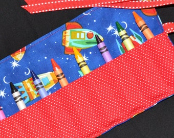 Kids CHRISTMAS GIFT - Red Rockets Crayon Roll Birthday Party Favor - Spaceships space NASA party favors
