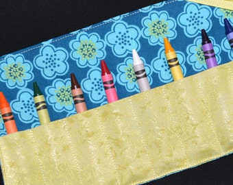 Crayon Roll - Kids Birthday Party Favor - Easter Gift - Crayon Keeper - Crayon Holder - Crayons included - Aqua flowers