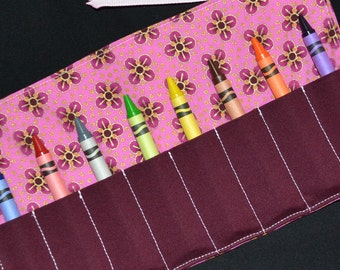 SALE - Burgundy Flowers Crayon Roll Up - crayon holder keeper caddy - toy, gift, Party Favor