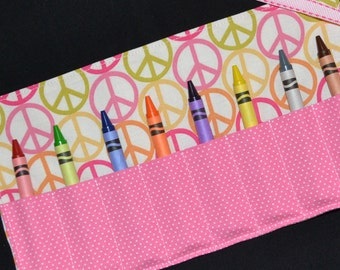 Peace Sign Crayon Roll with 8 Crayola Crayons - Birthday Party Favors - Little Girls Gift - Toy - Crayon Storage