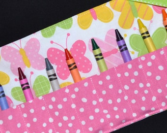 Crayon Roll, Pink Butterflies Crayon Roll Up Party Favors STOCKING STUFFER