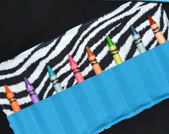 Zebra Stripe Crayon Roll Up, PARTY FAVORS, Easter gift for girls, crayon holder, travel toy, handmade baby gift