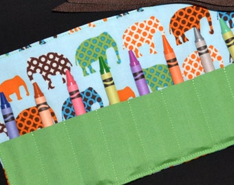 Elephants Crayon Roll keeper holder - Circus Birthday Party Favors - Boys Gift