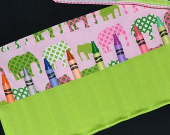 Pink and Green Elephants Crayon Roll - Circus Birthday Party Favors - Stocking Stuffer