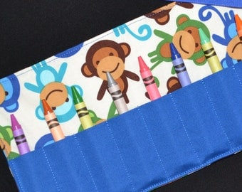 Boys Mod Monkey Birthday Party Favors - STOCKING STUFFER for boys - Crayon Roll Up Holder Keeper