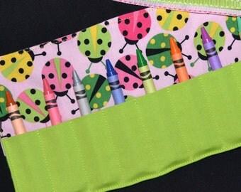 Ladybug Crayon Roll Birthday Party Favors - Crayon Keeper holder caddy - Ladybug Birthday