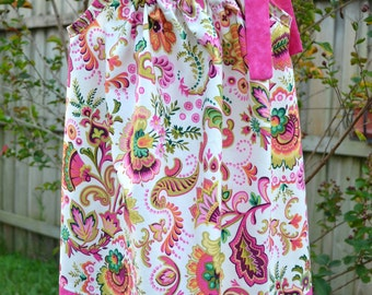 Easter Dress pillowcase dress paisley little girls Easter outfit floral spring dress baby dress Easter dress for toddler pink