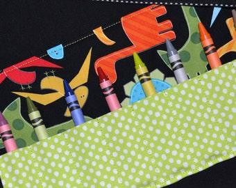 Boys STOCKING STUFFER Christmas Gift Crayon Roll keeper Holder storage- Dinosaur Birthday Party Favors - Zoologie Dinosaurs