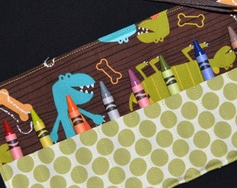 Boys STOCKING STUFFER - Crayon Roll - Dinosaurs Birthday Party Favors- Little Boys Gift - Michael Miller Dino Dude