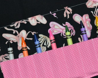 Girls STOCKING STUFFER Ballet Slippers Crayon Roll Party Favors - Dance Birthday Party - Girls Gift - Crayon Holder