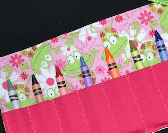 Crayon Roll - Frog Birthday Party Favors - Girls Gift - Crayon Keeper - Crayon Holder - Back to School - toddler Easter gift