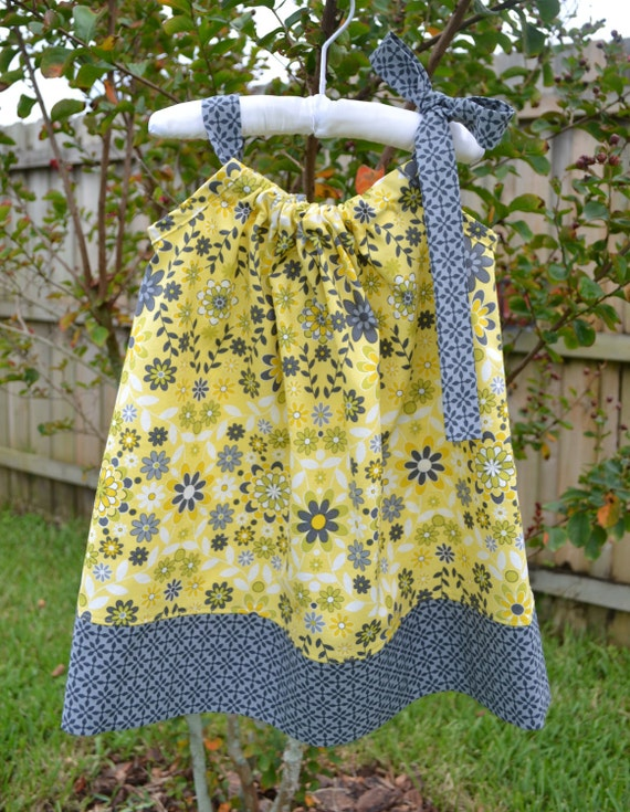 SALE - Yellow and Gray Pillowcase Dress - Summer Floral Dress, Mod - Baby Pillowcase Dress - Toddler Dress - Little Girls Dress