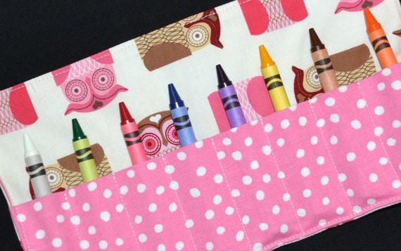 Pink and Brown Owls Crayon Keeper Party Favors - Crayon Roll Holder -  Gift - Owl Birthday