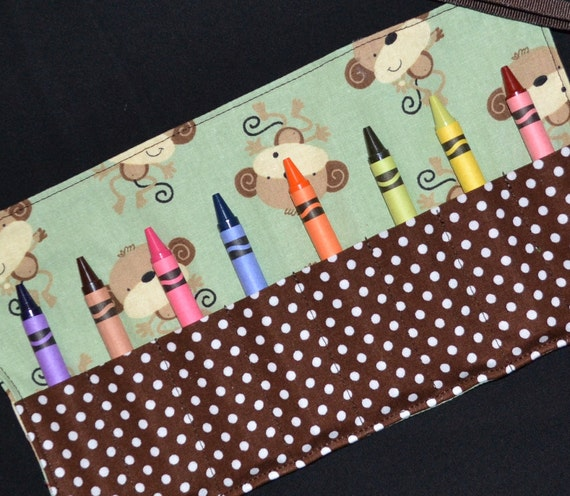 Lil' Monkeys Crayon Roll Birthday Party Favors - Monkey Birthday - Crayon Keeper holder - Gift