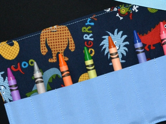 Monsters Crayon Roll Birthday Party favors - Gift - Crayon Holder - Crayon Keeper - Boys Monster Birthday Party