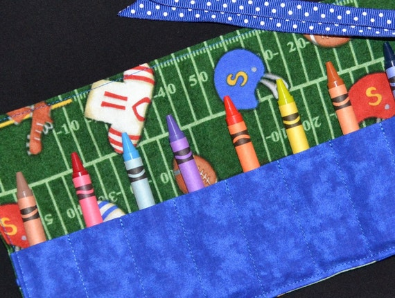 Football Crayon Roll Up Keeper Holder - Party Favors - Gift - Little Boys Gift