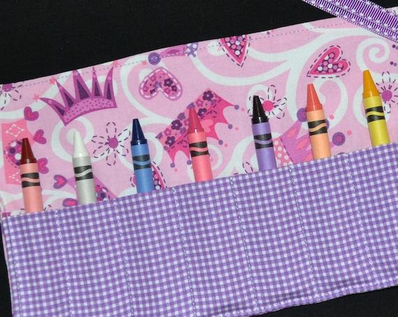 Princess Crown Crayon Roll Party Favor - STOCKING STUFFER Girls Christmas Gift - Princess Birthday Party Gift - Crayon Holder
