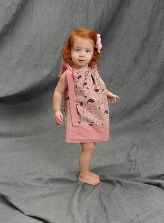 SALE - Light Pink Paisley Pillowcase Dress - Pink Paisley Dress - Baby Pillowcase Dress - Toddler Pillowcase Dress - Little Girls Dress