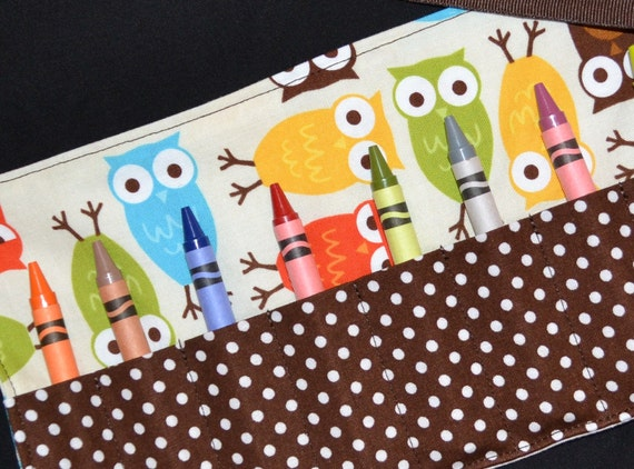 Owl Birthday Party Favors - Owl Crayon Roll STOCKING STUFFER - Toddler Christmas Gift Idea - Crayon Storage, Urban Zoologie