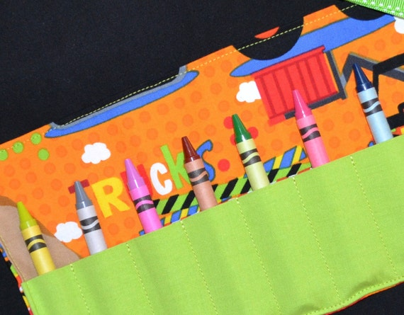 Construction Trucks Crayon Roll - Crayon Holder - PARTY FAVORS - Birthday Gift - Crayon Keeper - Boys Easter Gift