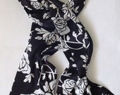 RESERVED FOR TENZINWANGMO  White Roses Charmeuse Scarf, Headwrap, Headcovering