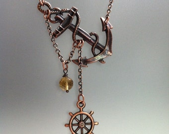 Copper Anchor Necklace, Lost at Sea, Copper Anchor Pendant, Whiskey Quartz, Summer Necklace, Summer Outdoors, Summer Party, Beach Necklace