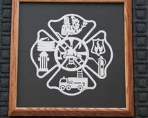 Fireman's Plaque -Scherenschnitte -  Hand Paper Cutting Art signed dated by Janet Lynch framed 14x14 - FREE U.S.Ship with another item.