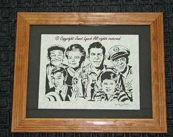 Andy Griffith Cast -Scherenschnitte (hand paper cutting) Signed and dated by Janet Lynch framed 11x14