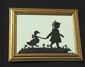 Girl With Goose  - Scherenschnitte - Hand Paper Cutting Art signed and dated By Janet Lynch -5x7 Framed