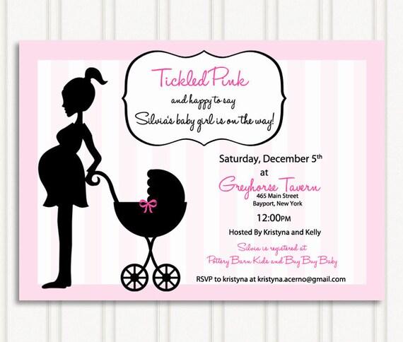 Tickled Pink Baby Shower Invites