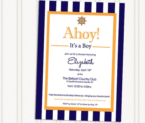 items similar to ahoy it 39 s a boy nautical baby shower invites on etsy