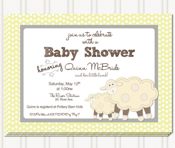 lil lamb baby shower invites by gingersnapsoriginal on etsy