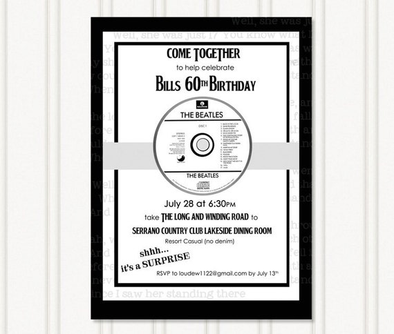 Party Invitation – Beatles Party Invitations