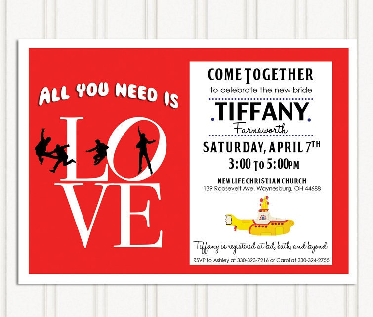 Beatles invitations – Beatles Party Invitations