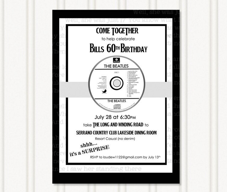 Beatles Party Invitation – Beatles Party Invitations