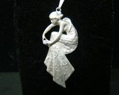 Sterling Silver bending lady pendant with diamond