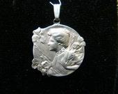 Sterling Silver Art Nouveau style pendant